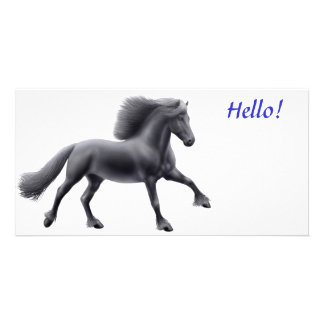 Friesian Horse Galloping Photo Card