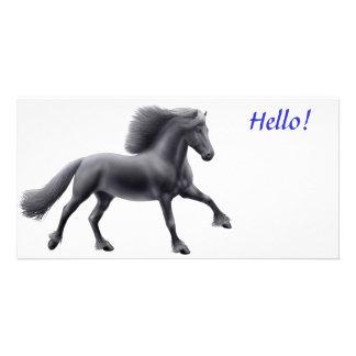 Friesian Horse Galloping Photo Card