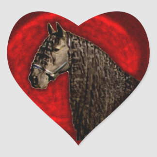 Friesian Horse Heart Stickers