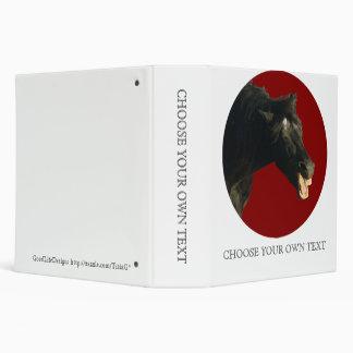 Friesian Horse in Red circle 3 Ring Binder