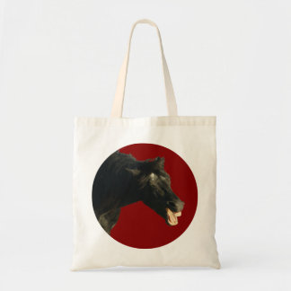 Friesian Horse in Red circle Canvas Bag