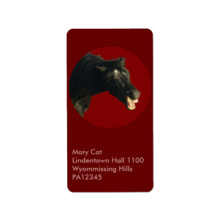 Friesian Horse in Red circle Label