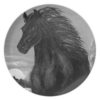 Friesian Horse in the Surf Melamine Plate