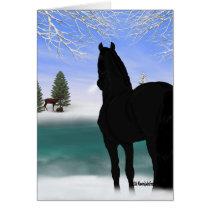 Friesian Horse in Winter Christmas Card
