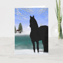 Friesian Horse in Winter Christmas Holiday Card