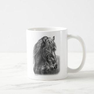 Friesian Horse Portrait Wavy Mane Coffee Mug