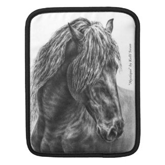Friesian Horse Portrait Wavy Mane iPad Sleeve
