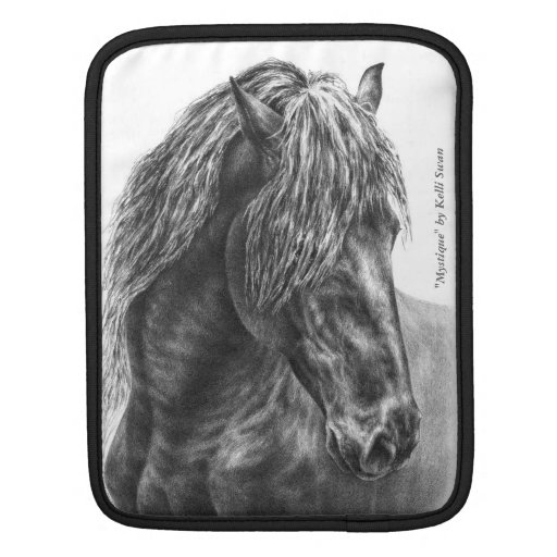 Friesian Horse Portrait Wavy Mane Sleeve For iPads