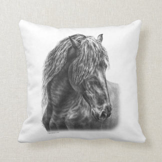 Friesian Horse Portrait Wavy Mane Pillows