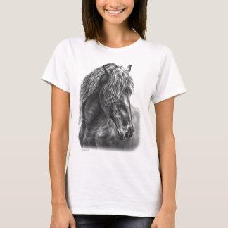 Friesian Horse Portrait Wavy Mane T-Shirt