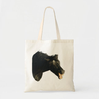 Friesian Horse-portrait yawning Tote Bags