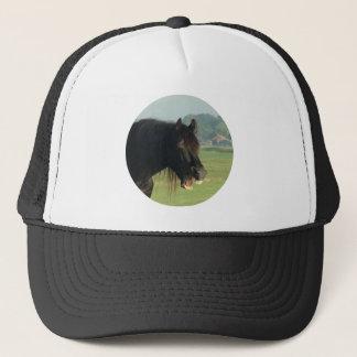 Friesian Horse-portrait yawning in circle Trucker Hat