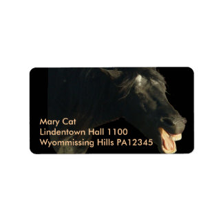 Friesian Horse-portrait yawning Label