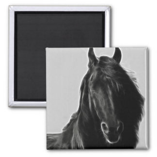 Friesian Horse profile 2 Inch Square Magnet