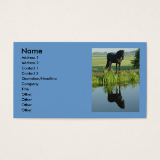 Friesian Horse Reflection in water Business Card