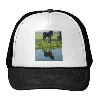Friesian Horse Reflection in water Mesh Hat