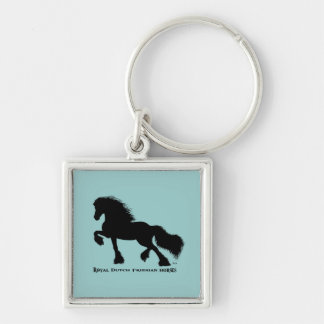 Friesian Horse Silver-Colored Square Keychain