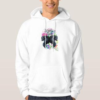 friesian horse, stallion, folk flowers hoodie
