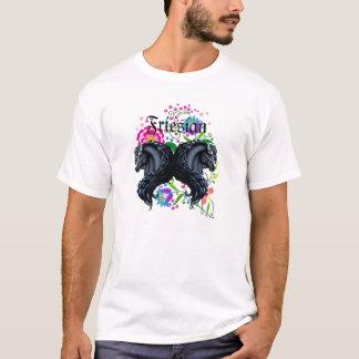 friesian horse, stallion, folk flowers T-Shirt