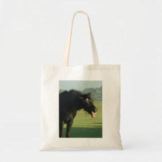 Friesian Horse Yawning Tote Bags