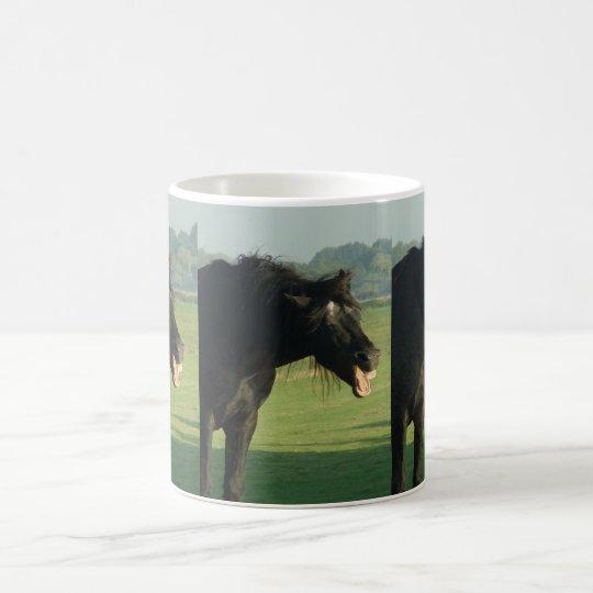 Friesian Horse Yawning Coffee Mug