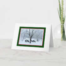 Friesian Horses in Snow Christmas Card