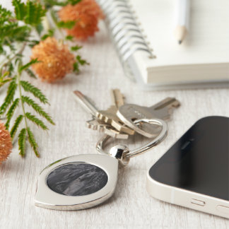 Friesian Image Silver-Colored Swirl Metal Keychain