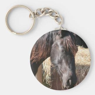 Friesian mare basic round button keychain
