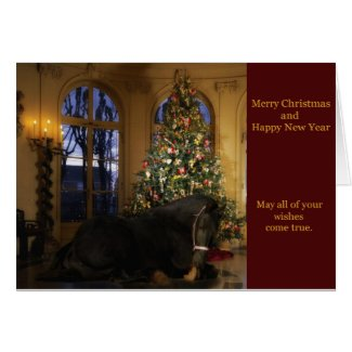 Friesian Mare Under Tree Christmas Card