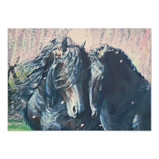 """Friesian Romance"" black stallion and mare Card"