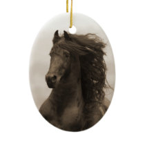 Friesian Runs Horse Holiday Ornament