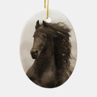 Friesian Runs Horse Holiday Ornament