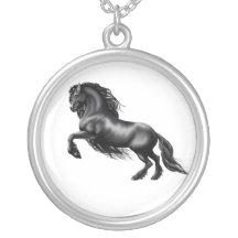 Horse Jewelry set Galloping Friesian bracelet and Friesian Stallion head earrings