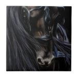 Friesian Spirit Black Horse Painting Ceramic Tiles