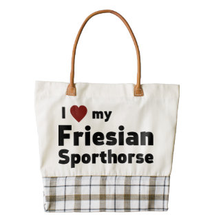 Friesian Sporthorse Zazzle HEART Tote Bag