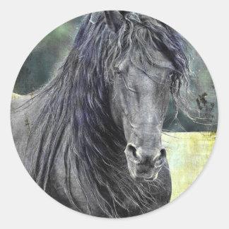 Friesian Stallion Classic Round Sticker