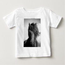 Friesian stallion in the wind. baby T-Shirt
