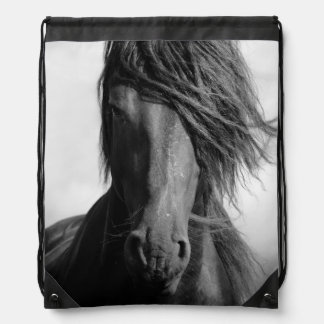 Friesian stallion in the wind. drawstring backpack