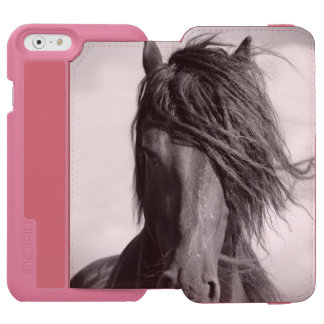 Friesian stallion in the wind. iPhone 6/6s wallet case