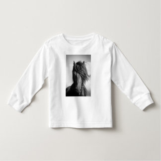 Friesian stallion in the wind. toddler t-shirt