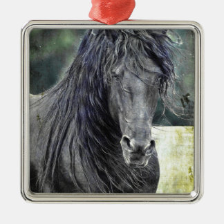Friesian Stallion Metal Ornament