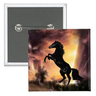 Friesian Stallion rearing Pinback Button