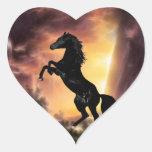 Friesian Stallion rearing Heart Sticker