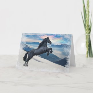 Friesian Stallion Rearing in the Snow Card