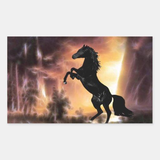 Friesian stallion rearing rectangular sticker