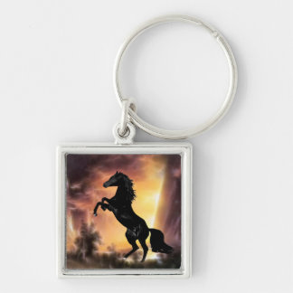 Friesian stallion rearing Silver-Colored square keychain