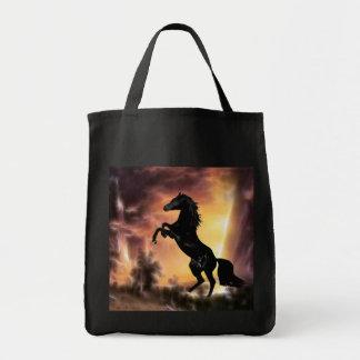 Friesian stallion rearing tote bag