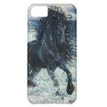 """Friesian Storm"" black stallion, cartooned iPhone 5C Cases"