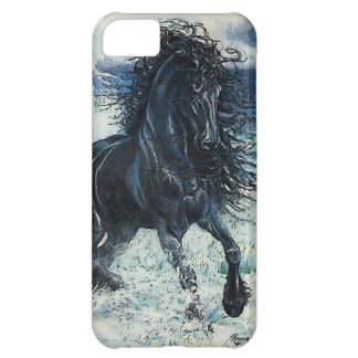 """Friesian Storm"" black stallion, cartooned iPhone 5C Cover"