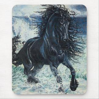 """Friesian Storm"" black stallion, cartooned Mouse Pad"